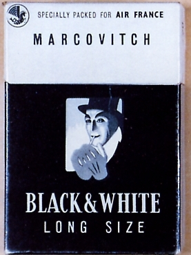 Marcovitch Black and White Air France Special Long Size 100s cigarettes hard box