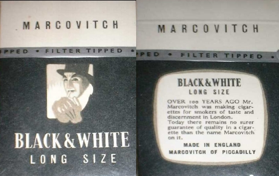 Marcovitch Black and White Filter Long Size 100s cigarettes hard box