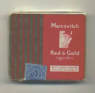 Marcovitch Red and Gold metal cigarettes wide flat hard box