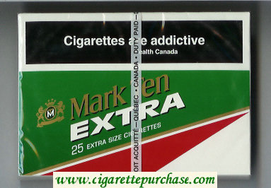 Mark Ten Extra 25 cigarettes wide flat hard box