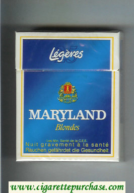 Maryland Legeres Blondes 25s blue and white cigarettes hard box
