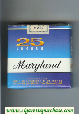 Maryland Legere 25 blue and white cigarettes soft box