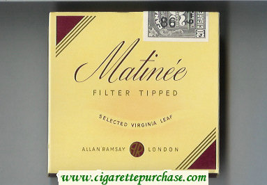Matinee Filter Tipped Selected Virginia Leaf cigarettes wide flat hard box
