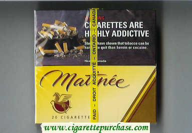 Matinee 20 cigarettes wide flat hard box