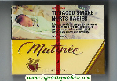 Matinee 25 Short cigarettes wide flat hard box