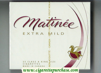 Matinee Extra Mild 25 Class A King Size cigarettes wide flat hard box