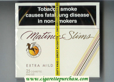 Matinee Slims Extra Mild 25 cigarettes King Size wide flat hard box