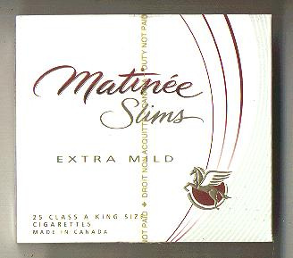 Matinee Slims Extra Mild 25 cigarettes wide flat hard box