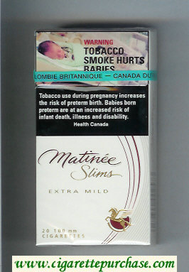 Matinee Slims Extra Mild 100 cigarettes hard box