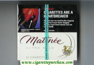 Matinee Ultra Mild cigarettes wide flat hard box