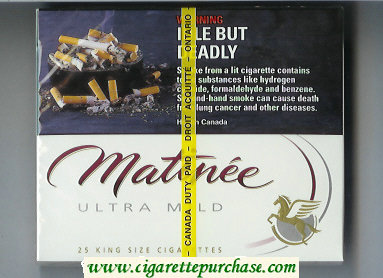 Matinee Ultra Mild 25 cigarettes wide flat hard box