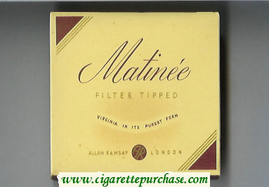 Matinee Filter Tipped Virginia In Its Purest Form cigarettes wide flat hard box