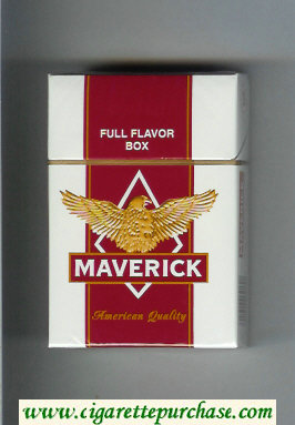 Discount Maverick Full Flavor white and red and yellow cigarettes hard box