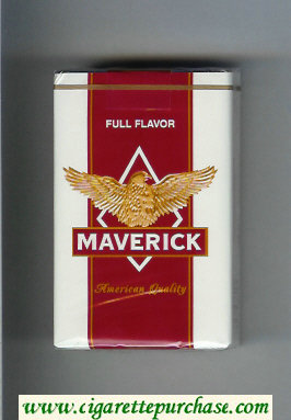 Discount Maverick Full Flavor white and red and yellow cigarettes soft box