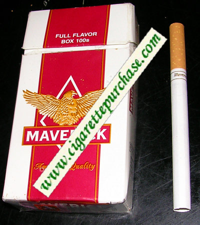 Discount Maverick Full Flavor Box 100s white and red and yellow cigarettes hard box