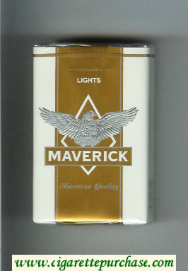 Discount Maverick Lights white and gold and grey cigarettes soft box