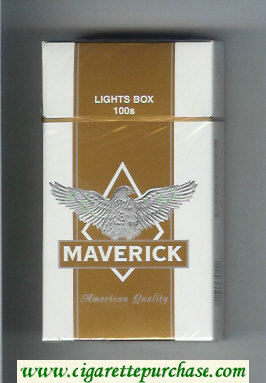 Maverick Lights Box 100s white and gold and grey cigarettes hard box