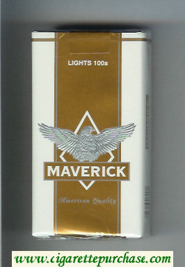 Maverick Lights 100s white and gold and grey cigarettes soft box