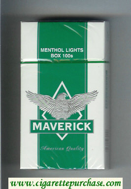 Discount Maverick Menthol Lights Box 100s white and green and grey cigarettes hard box