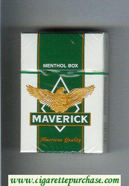 Maverick Menthol white and green and yellow cigarettes hard box