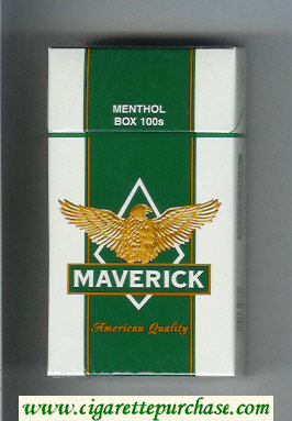 Discount Maverick Menthol Box 100s white and green and yellow cigarettes hard box