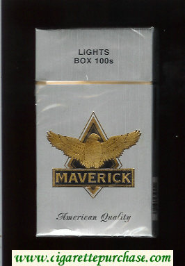 Maverick Lights Box 100s grey and gold and black cigarettes hard box