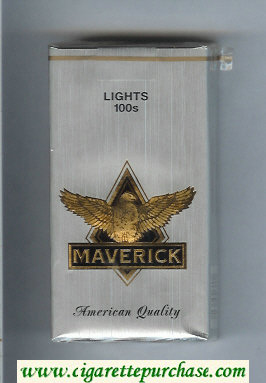 Maverick Lights 100s grey and gold and black cigarettes soft box