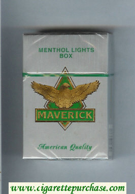 Maverick Menthol Lights grey and gold and green cigarettes hard box
