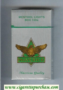 Maverick Menthol Lights Box 100s grey and gold and green cigarettes hard box