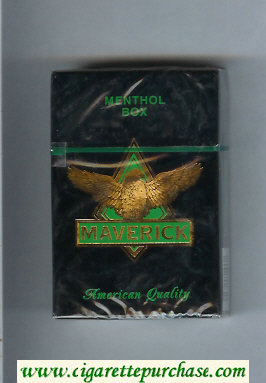 Maverick Menthol black and gold and green cigarettes hard box