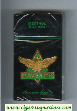 Maverick Menthol Box 100s black and gold and green cigarettes hard box