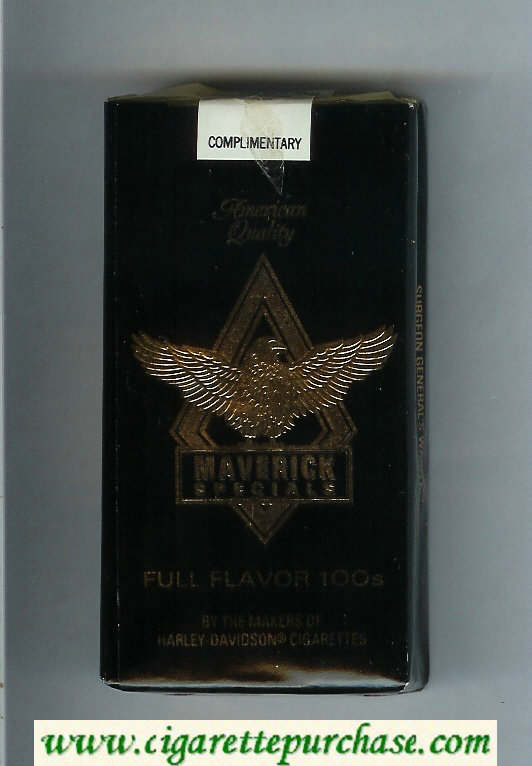 Discount Maverick Specials Full Flavor 100s black and gold cigarettes soft box