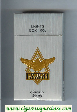 Discount Maverick Specials Lights Box 100s grey and gold and black cigarettes hard box