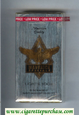 Discount Maverick Specials Lights 100s grey and gold and black cigarettes soft box