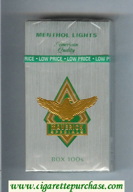 Discount Maverick Specials Menthol Lights Box 100s grey and gold and green cigarettes hard box