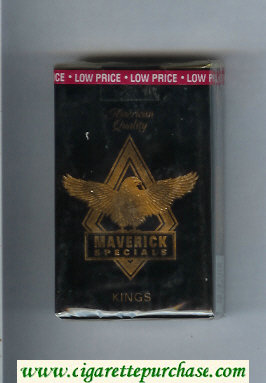 Discount Maverick Specials black and gold cigarettes soft box
