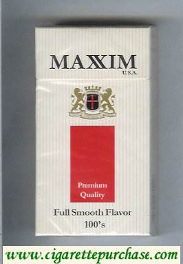 Maxim USA Premium Quality Full Smooth Flavor 100s cigarettes hard box