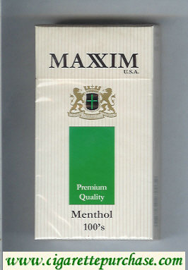 Maxim USA Premium Quality Menthol 100s cigarettes hard box