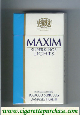 Maxim Lights Super Kings 100s cigarettes hard box