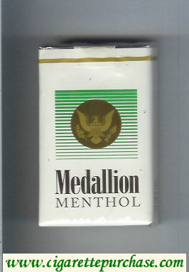 Medallion Menthol white and green cigarettes soft box