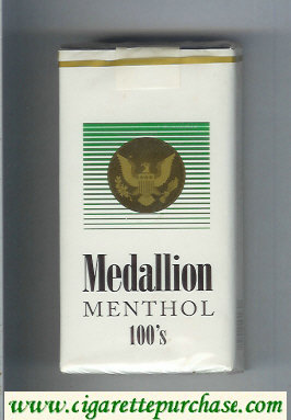 Medallion Menthol 100s white and green cigarettes soft box