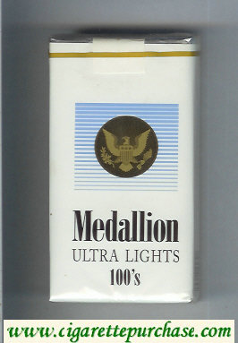 Medallion Ultra Lights 100s cigarettes soft box