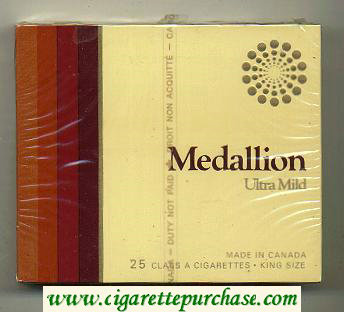 Medallion Ultra Mild 25 cigarettes wide flat hard box