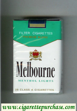 Melbourne Menthol Lights Premium Blend cigarettes soft box