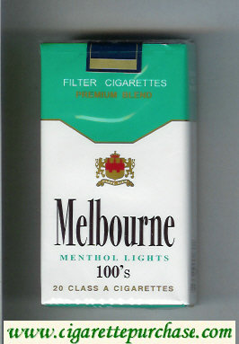 Melbourne Menthol Lights 100s Premium Blend cigarettes soft box