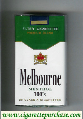 Melbourne Menthol 100s Premium Blend cigarettes soft box