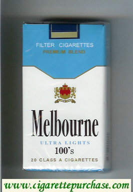 Melbourne Ultra Lights 100s Premium Blend cigarettes soft box