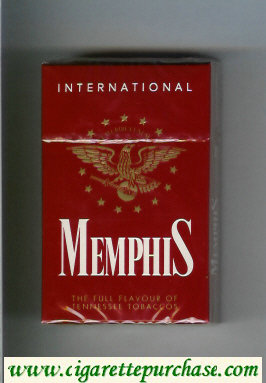 Memphis International The Full Flavour of Tennessee Tobaccos cigarettes hard box
