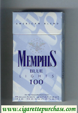 Memphis Blue American Blend Lights 100 cigarettes hard box