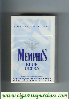 Memphis Blue Ultra American Blend cigarettes hard box